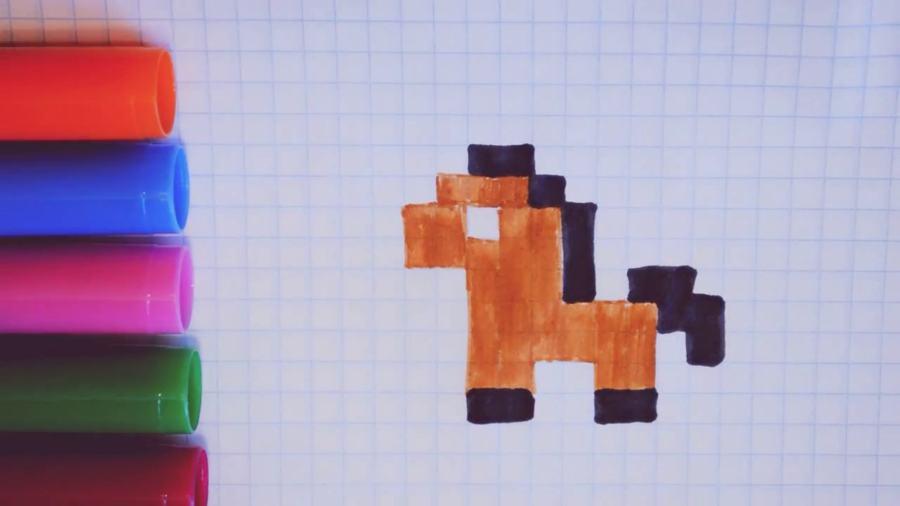 Рисунки по клеточкам простые-лошадь