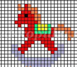 Средняя сложность рисунки по клеточкам лошади