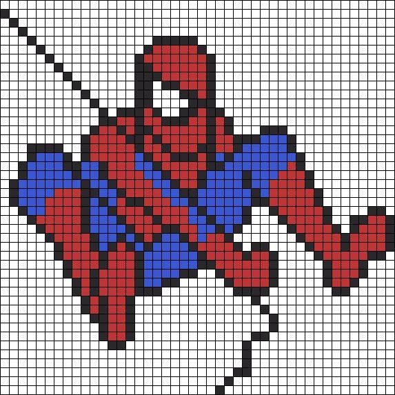 Рисунки по клеточкам Человек-Паук  для Мальчиков