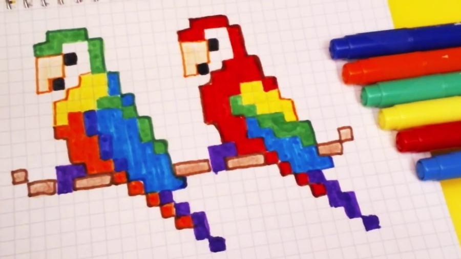 Рисунки по клеточкам попугай