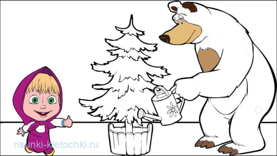 маша и медведь картинки для срисовки