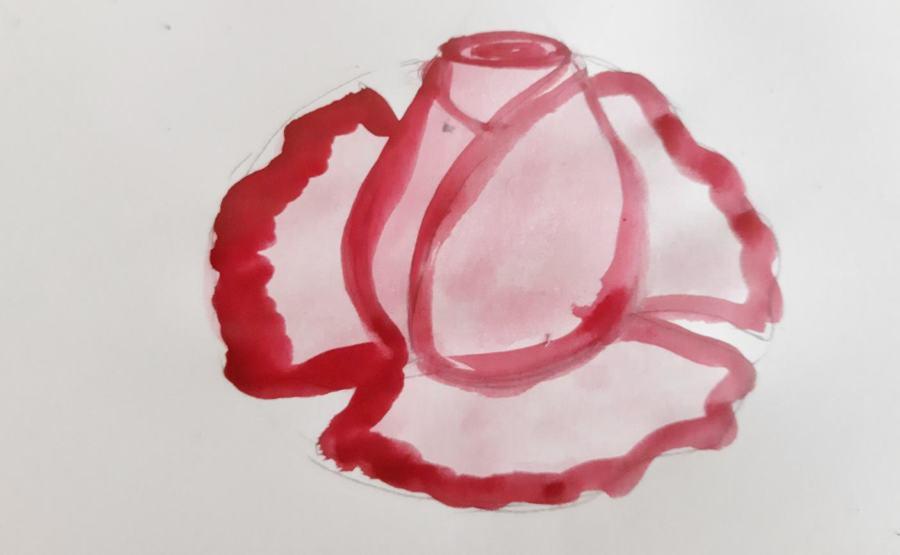 Как нарисовать розу поэтапноаквареью