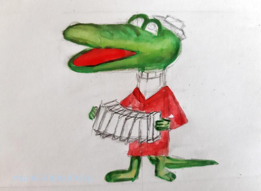 Как нарисовать кроколила гену поэтапно карандашом гуашью