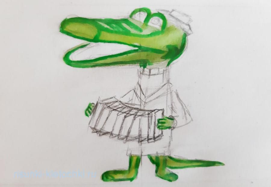 Как нарисовать кроколила гену поэтапно карандашом акварелью