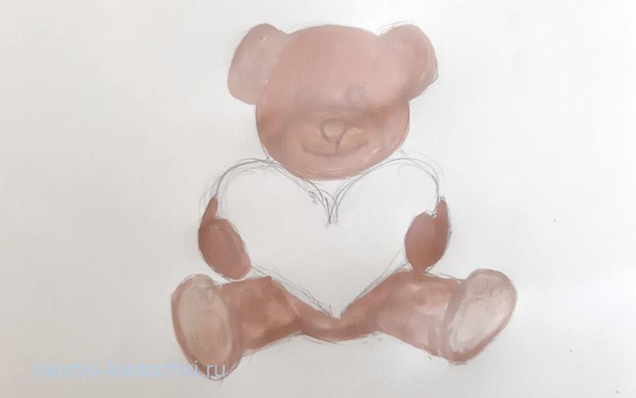 Как нарисовать мишку с сердечком поэтапно красками