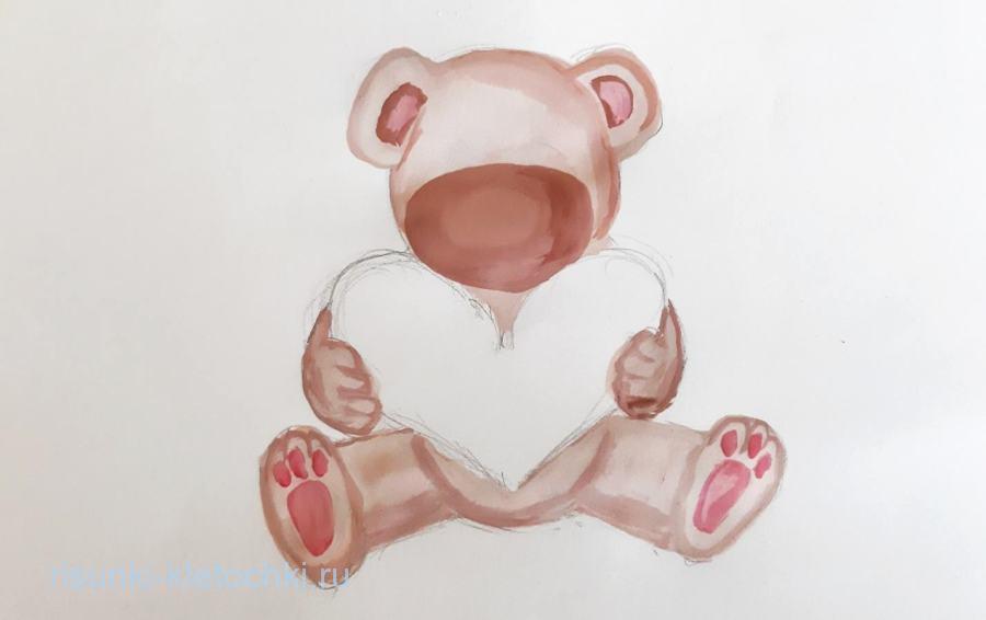 Как нарисовать мишку с сердечком поэтапно  карандашом