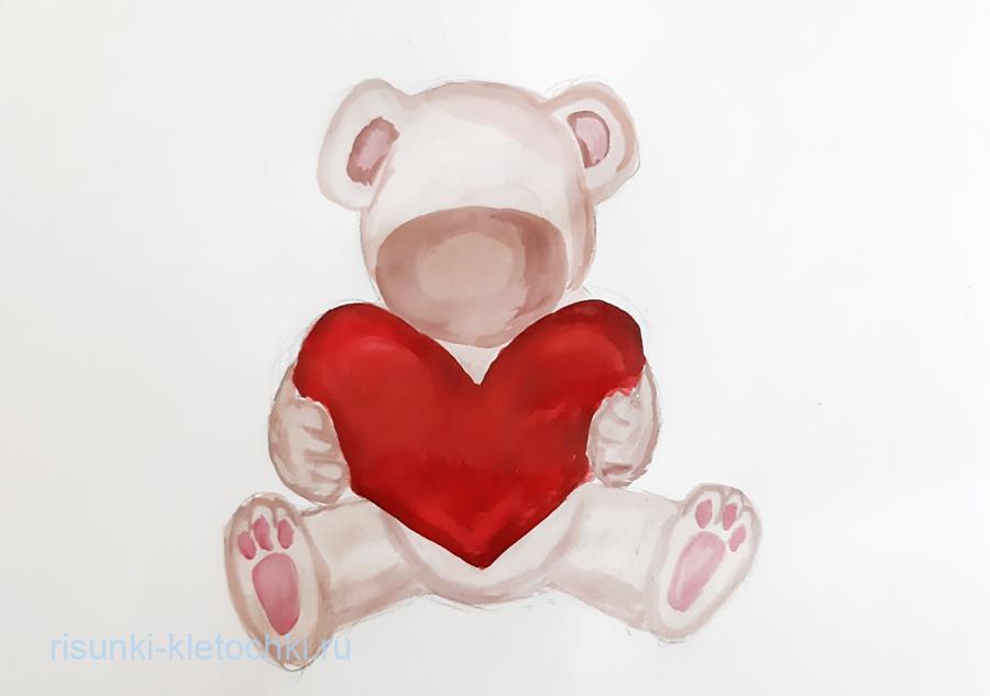 Как нарисовать мишку с сердечком поэтапно  акварелью