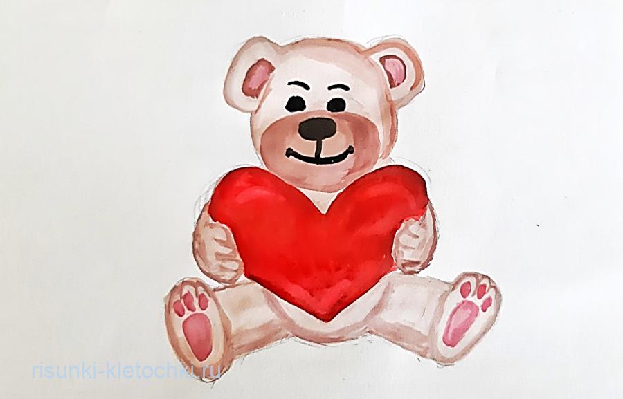 Как нарисовать мишку с сердечком поэтапно