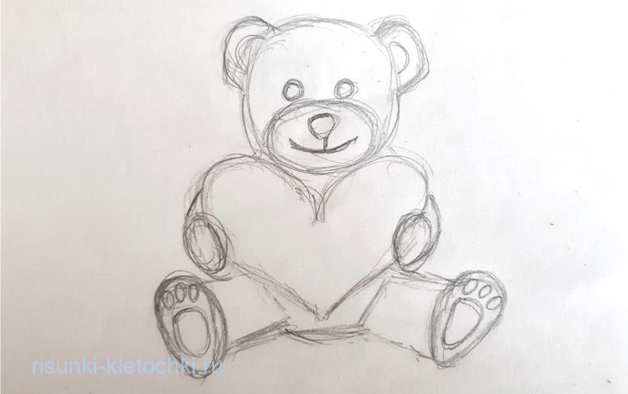 Как нарисовать мишку с сердечком поэтапно  карандашом для начинающих