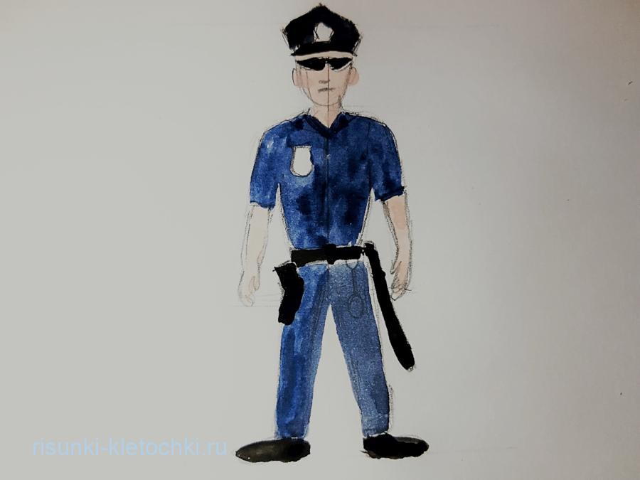 Как нарисовать полицейского поэтапно
