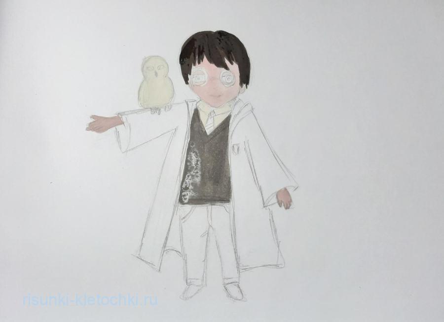 Как нарисовать Гарри Поттера поэтапно карандашом