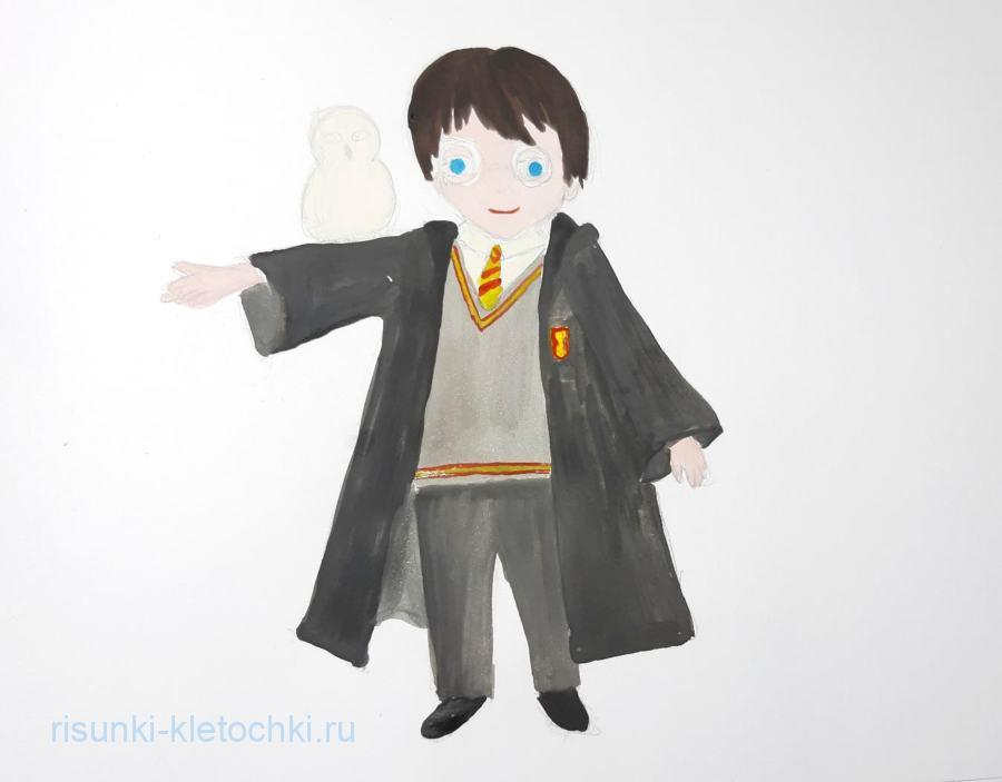 Как нарисовать Гарри Поттера поэтапно акварелью