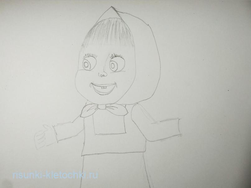 Как нарисовать Машу и медведя поэтапно  карандашами