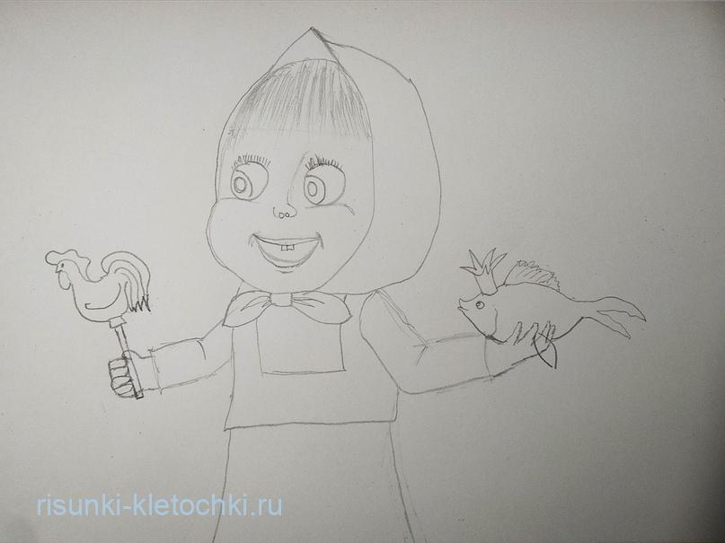 Как нарисовать Машу и медведя поэтапно  фломастерами