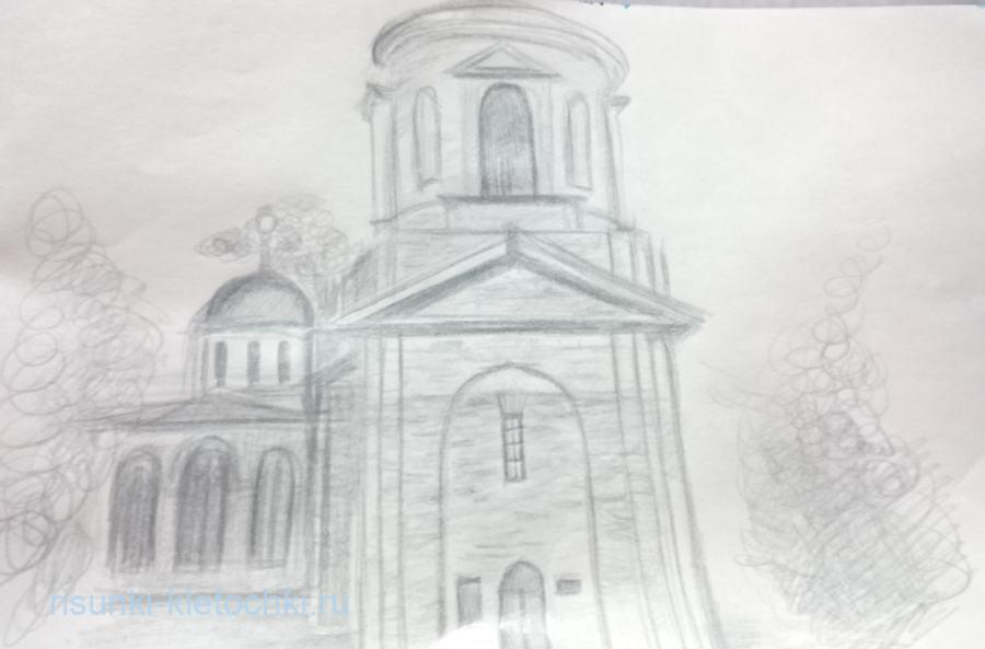 Как нарисовать храм поэтапно простым карандашом