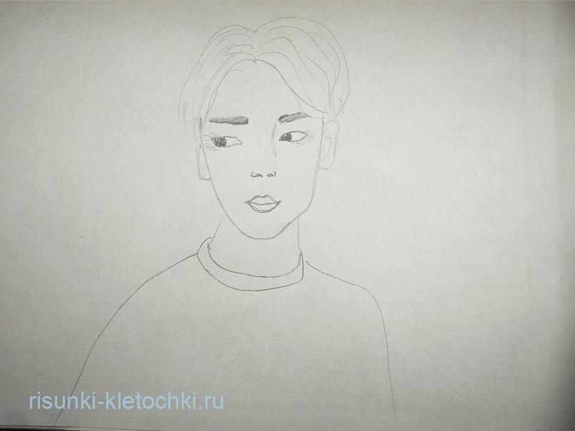 Как-нарисовать-Чимина-Поэтапно карандашом