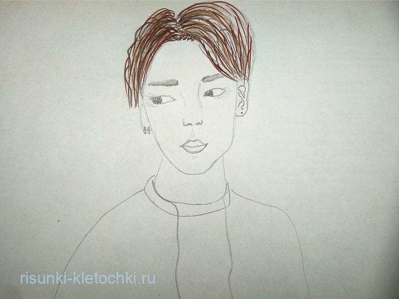 Как-нарисовать-Чимина-Поэтапно фломастерами
