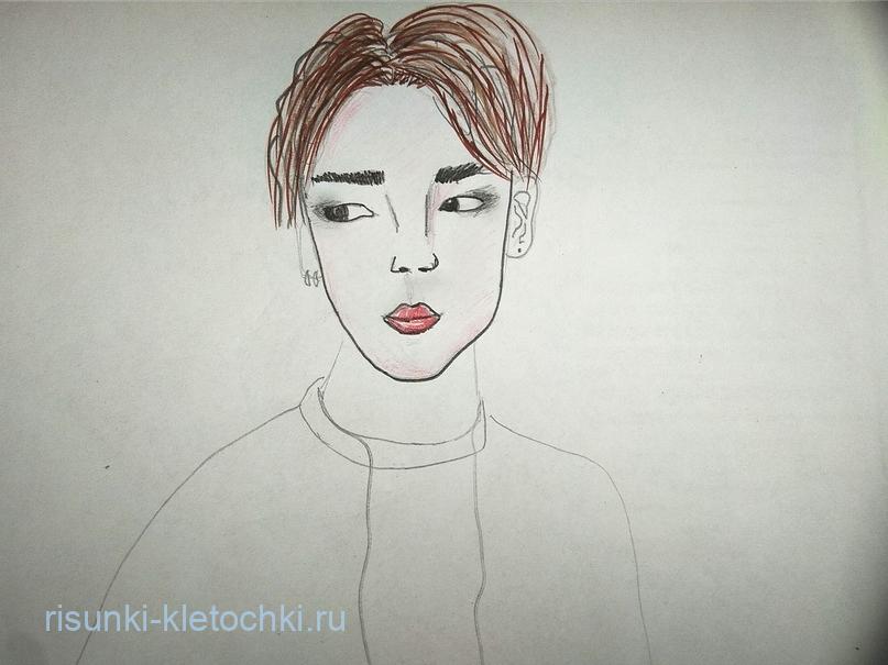 Как-нарисовать-Чимина-Поэтапно