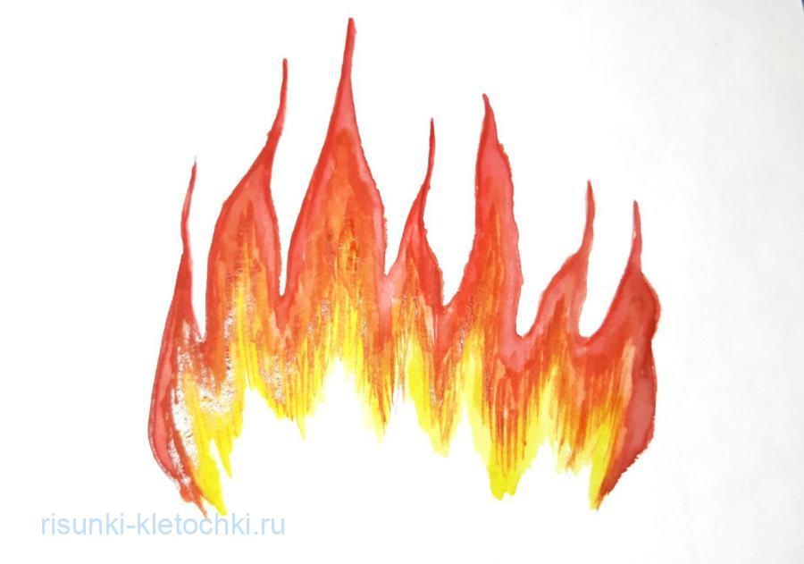 Как нарисовать огонь пошагово