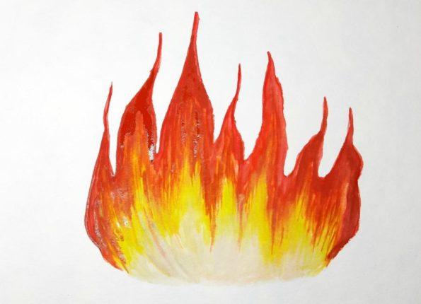 Как нарисовать огонь поэтапно