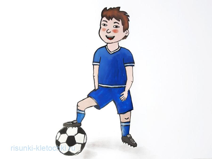 Как нарисовать футболиста поэтапно. гуашью