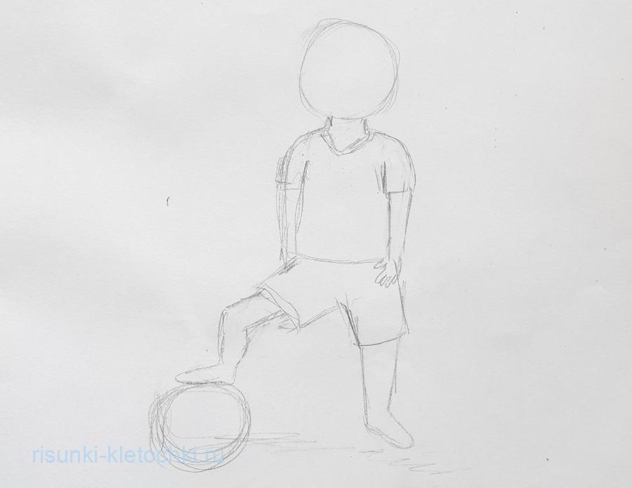 Как нарисовать футболиста поэтапно.