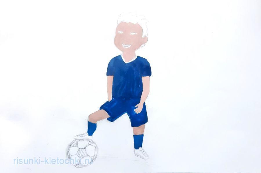 Как нарисовать футболиста поэтапно. акварелью