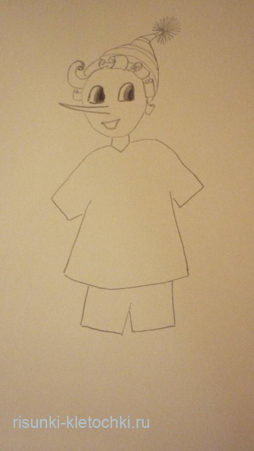 Буратино нарисовать рисунок пошагово
