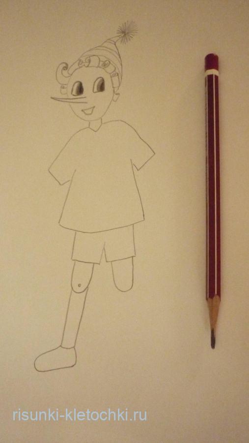 Как нарисовать Буратино поэтапно