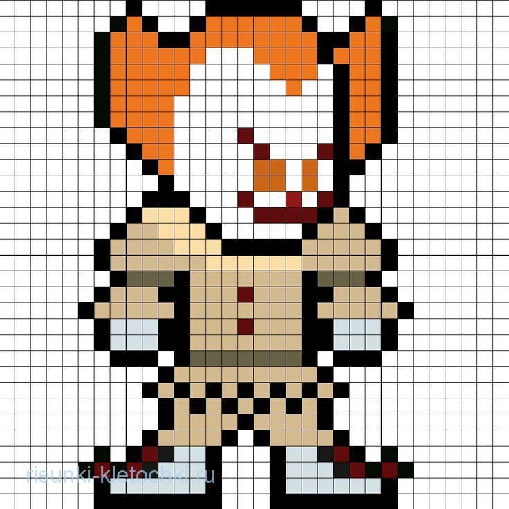 Рисунки по клеточкам Клоун