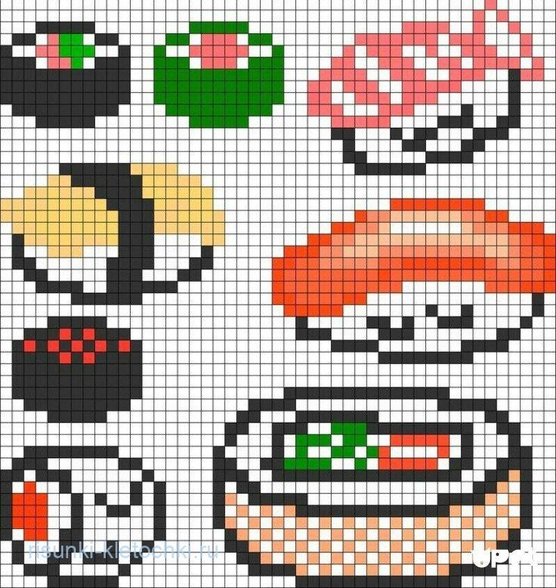 Рисунки по клеточкам в тетради еда - Суши и Роллы