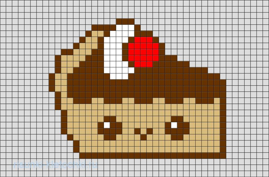 Рисунки по клеточкам в тетради еда - Тортик