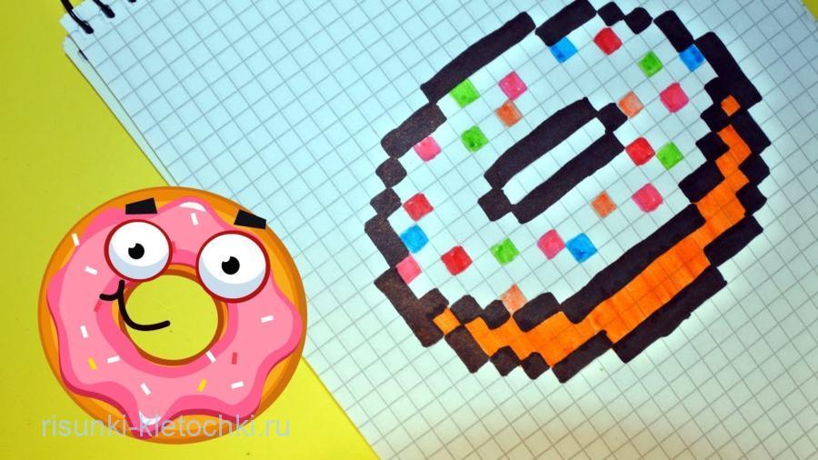 Рисунки по клеточкам в тетради еда - пончик