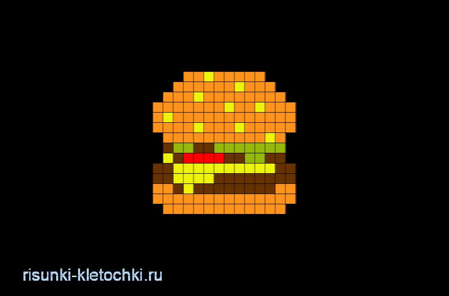 Рисунки по клеточкам в тетради еда - Гамбургер, Бургер