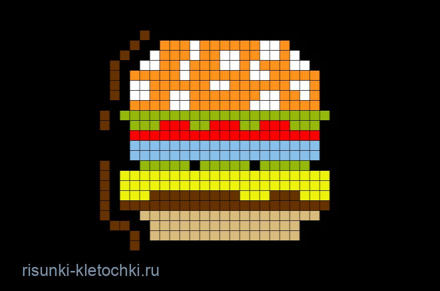 Рисунки по клеточкам в тетради еда - Чизбургер
