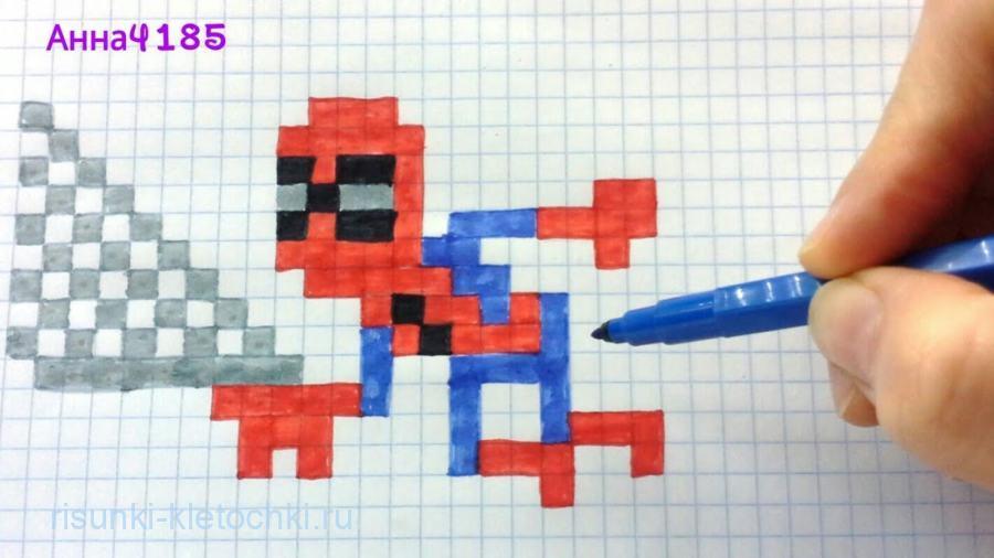 Человек паук по клеточкам