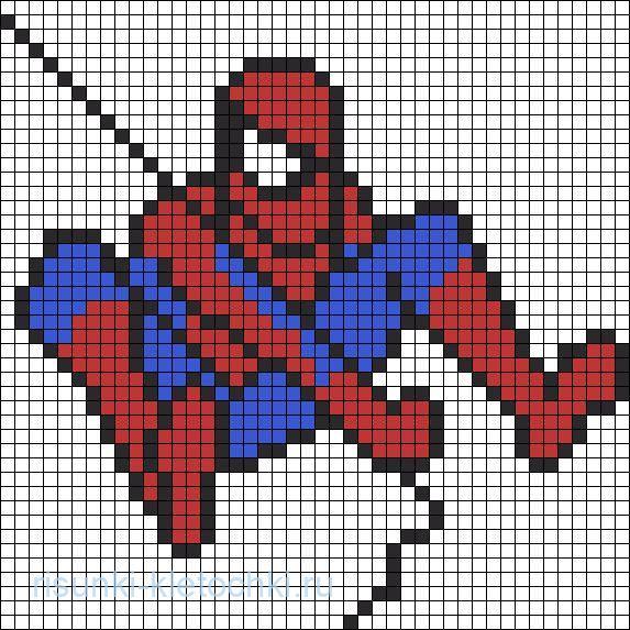 Рисунки-по-клеточкам-для-мальчиков-Человек-Паук