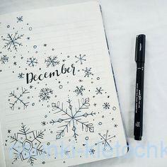 Снежинки в декабрьском личном дневнике к новому году 2020