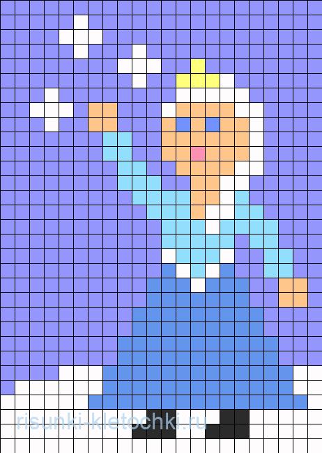 Как нарисовать Эльзу по клеточкам