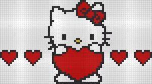 Рисунки по клеточкам - Киса с сердечком