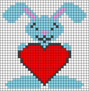 Рисунки по клеточкам - зайчик с сердечком