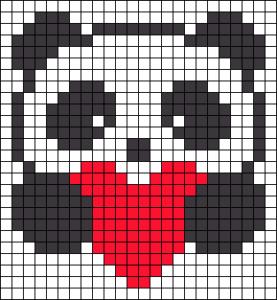 Рисунки по клеточкам -панда с сердечком