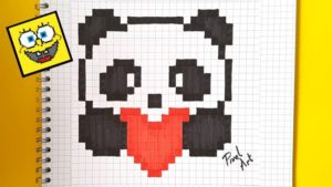Рисунки по клеточкам -панда с сердечком6