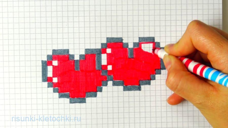 Рисунки по клеточкам сердце, сердечко про любовь лёгкие и простые для начинающих