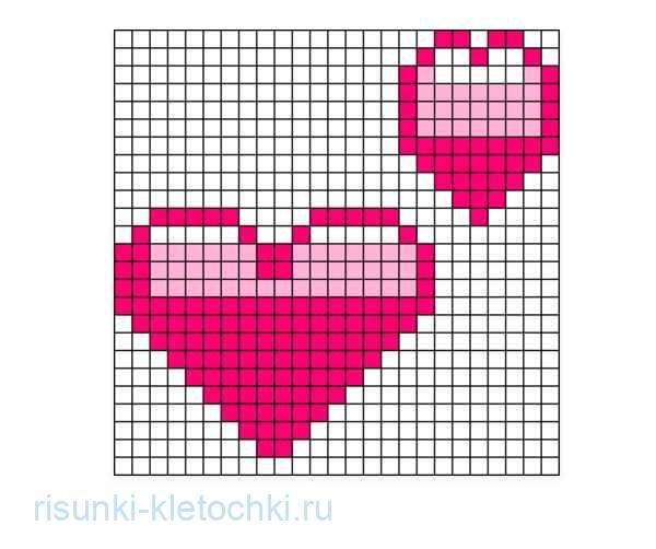 Рисунки по клеточкам про любовь лёгкие