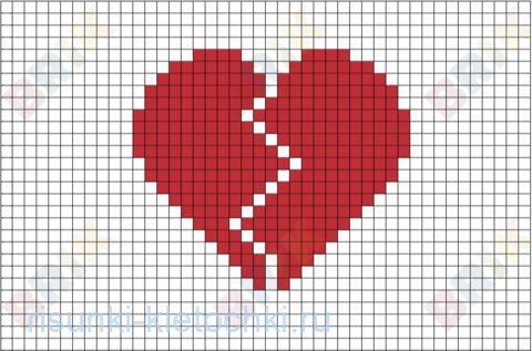 Рисунки по клеточкам сердце про любовь лёгкие