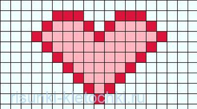 Рисунки по клеточкам про любовь лёгкие и простые для начинающих