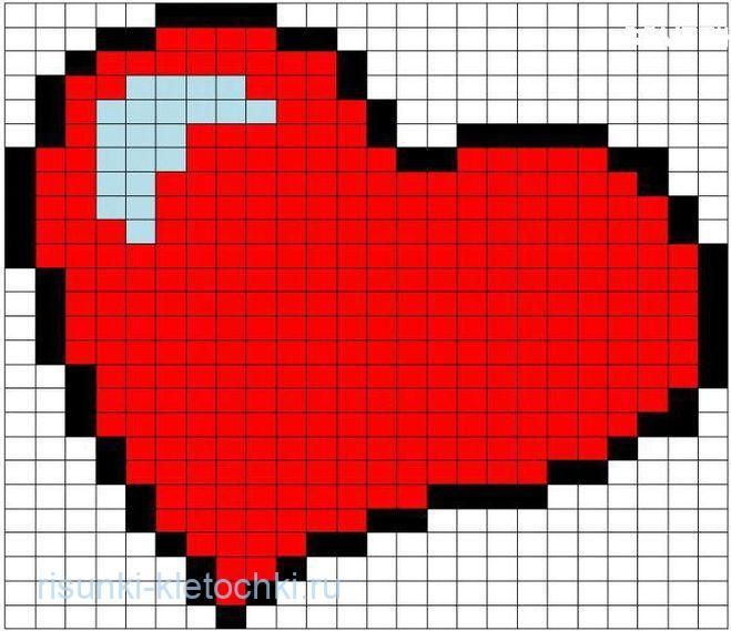 Рисунки по клеточкам сердце про любовь лёгкие и простые для начинающих