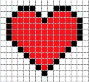 Рисунки по клеточкам сердечки2