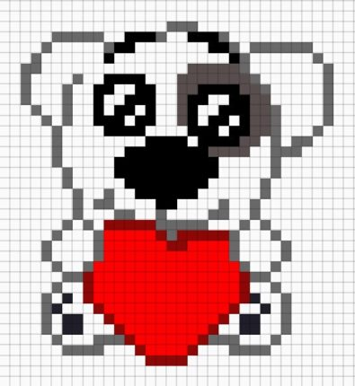 Рисунки по клеточкам -собачка с сердечком